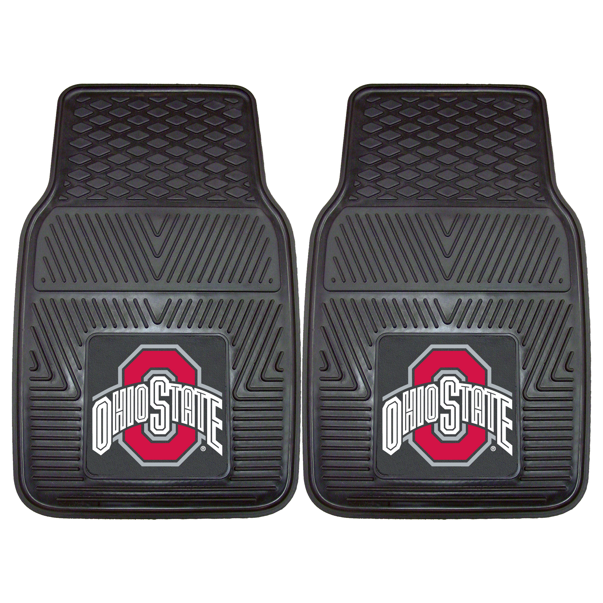 2 piece vinyl car mat set with Ohio State Buckeyes Officially Licensed NCAA Team Logo.