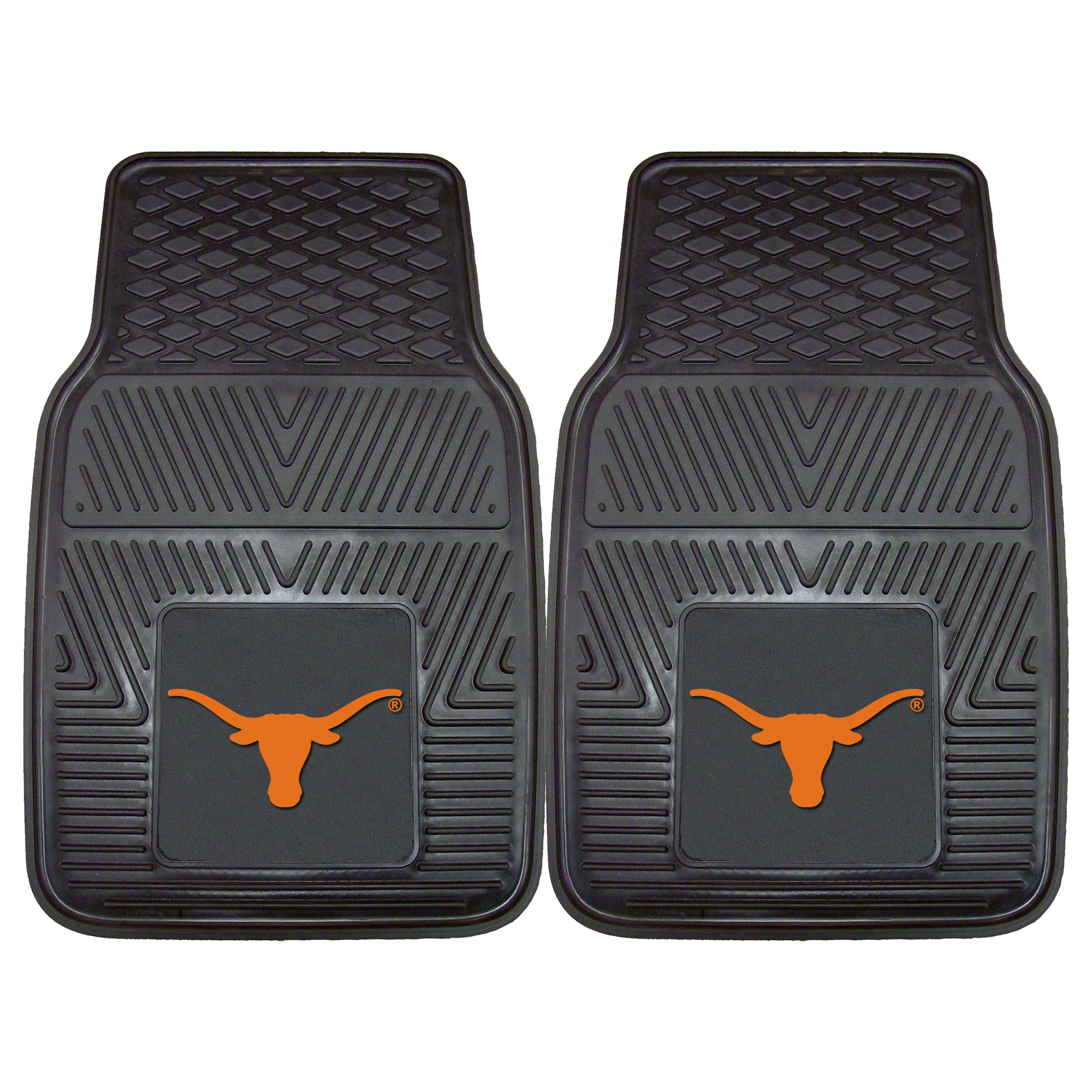 2 piece set of heavy-duty vinyl car mats with Texas Longhorns NCAA College Team Logo.