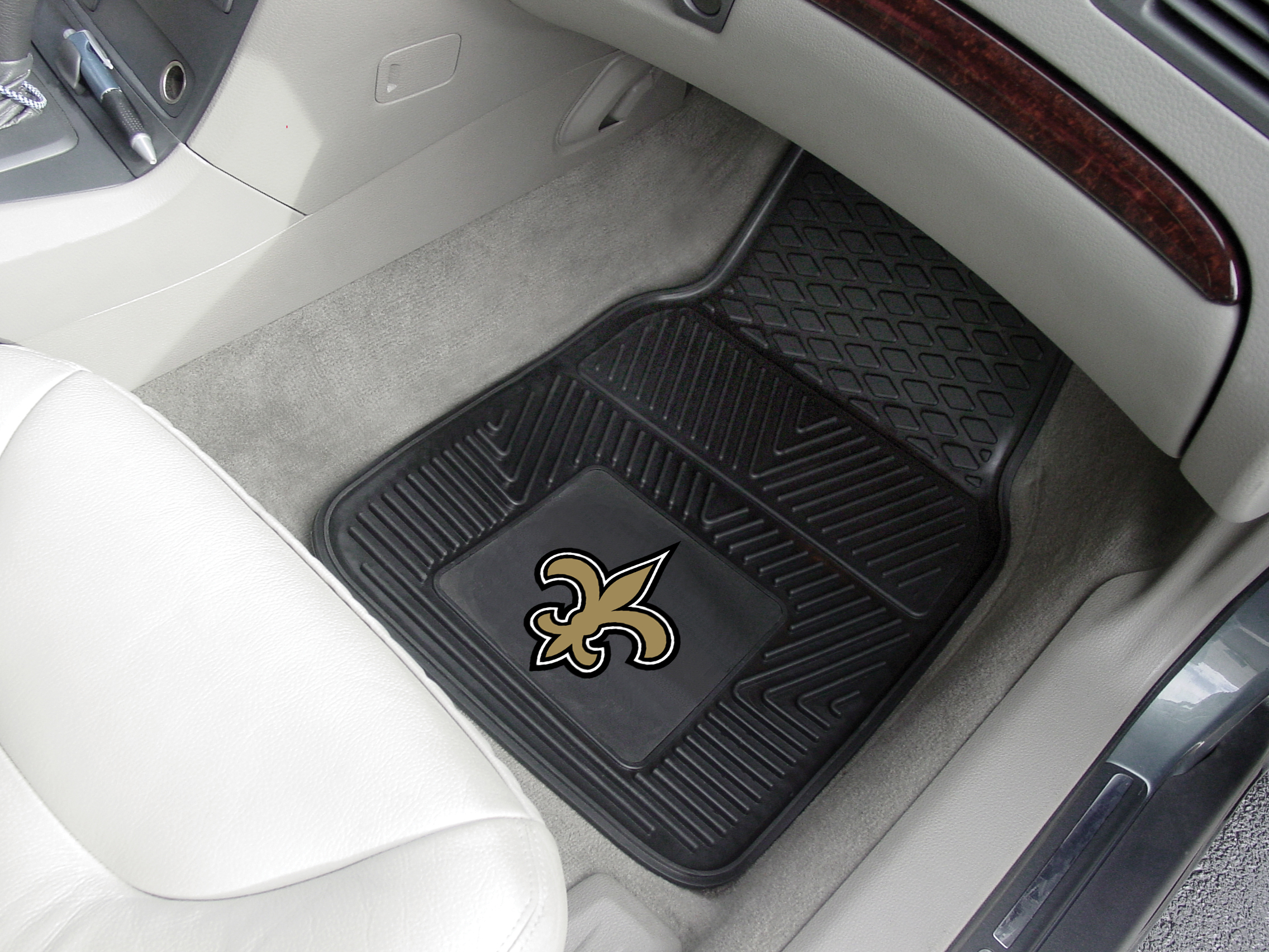 New Orleans Saints NFL Football Logo Car Floor Mats - Heavy-Duty Vinyl