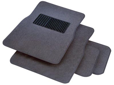 Rubber Queen [7054-4] Carpeted Car Floor Mat - 4-Piece Set - Gray