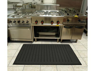 "Andersen [414] Cushion Max™ Wet/Dry Area Anti-Fatigue Floor Mat - Black - With Holes - 5/8"" Thickness"