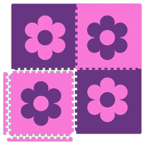 Economy Reversible Soft Floors Interlocking Mats - Flowers & Stars