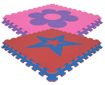 Economy Reversible Softfloors Interlocking Mats - Flowers & Stars