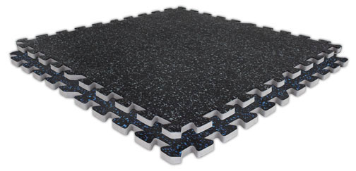 Soft Rubber Interlocking Gym Mat Tiles - 3/4""