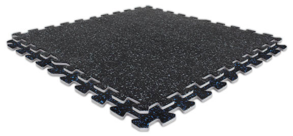Soft Rubber Interlocking Gym Mat Tiles - 3/8""