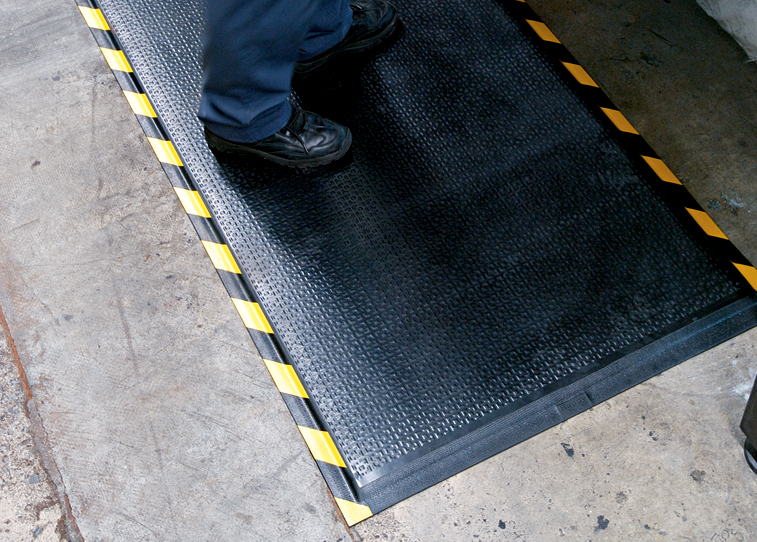 "Andersen 480 Happy Feet Wet/Dry Area Anti-Fatigue Floor Mat - Textured Surface - OSHA Border - 1/2"" Thickness"