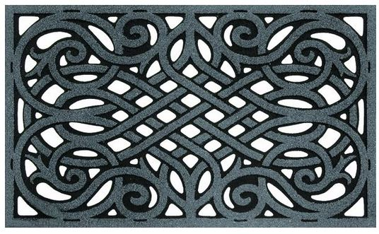 "Wrought Iron Graphite Door Mat - 30"" x 18"" - Black"