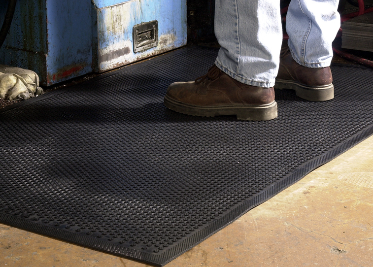 Safety Scrape is constructed of 100 percent Nitrile Rubber and can be used in environments that are exposed to animal fats and petroleum products. Safety Scrape is green friendly containing 20% recycled rubber content. The molded grip-surface face cleats effectively scrape tough dirt and grime off shoes and provide and excellent anti-slip surface. They are certified slip-resistant by the National Floor Safety Institute.
