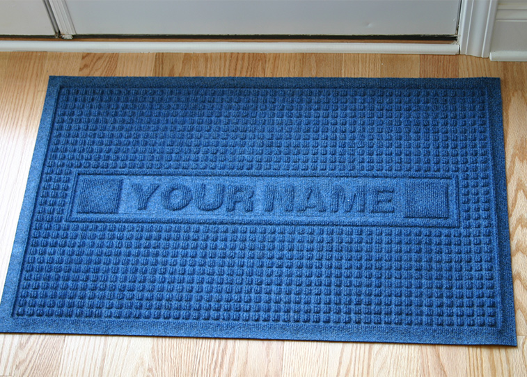 Personalized Sculpture Classic Waffle Logo Door Mat