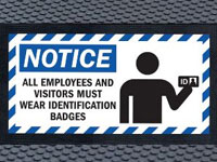 Super Scrape Sign Mat - ID Badge Required - 3' x 5' or 4' x 6' Mats