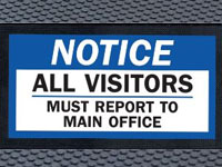 Super Scrape Sign Mat - Notice to Visitors - 3' x 5' or 4' x 6' Mats