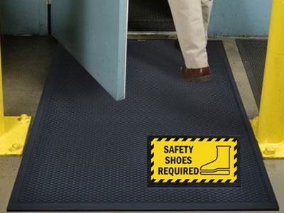 Superscrape Safety Shoes Required Message Sign Mat