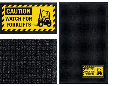 Watch For Forklifts Sign Mat - Wiper/Scraper
