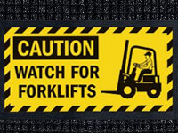 Watch For Forklifts Waterhog Message Mat AM-51