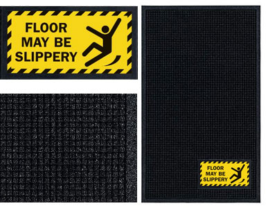 Floor May Be Slippery Message Sign Mat - Wiper/Scraper