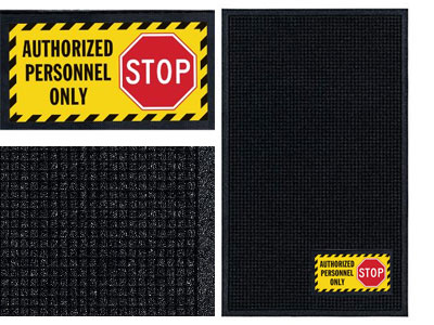 Authorized Personnel Only Sign Mat - Wiper/Scraper