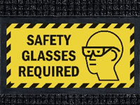 Safety Glasses Required Sign Mat - Wiper/Scraper