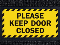 Please Keep Door Closed Sign Mat - Wiper/Scraper
