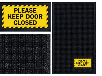 Please Keep Door Closed Sign Mat Wiper Scraper