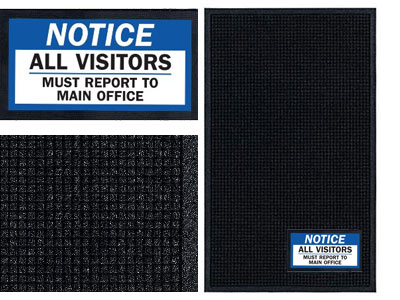 Notice Visitors Sign Mat - Wiper/Scraper