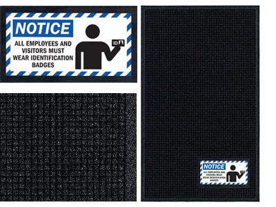 Notice ID Badge Required Sign Mat - Wiper/Scraper