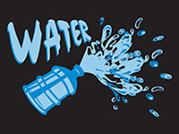 Water Cooler Splash Graphic Mat - Black
