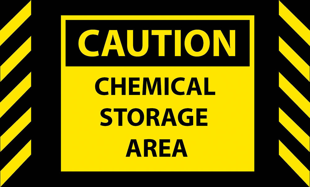Caution Chemical Storage Area Safety Message Mat