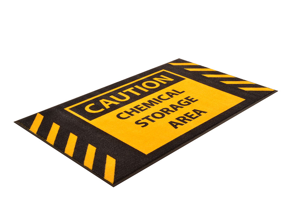 Safety Message Mat - Caution Chemical Storage