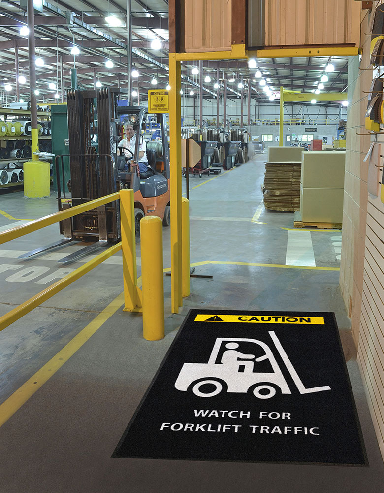 Safety Message Mat - Caution Watch for Forklift