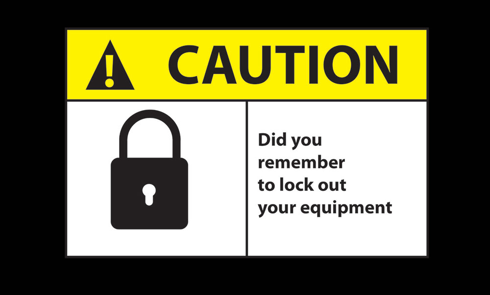 Safety Message Floor Mat - Caution Lockout Equipment