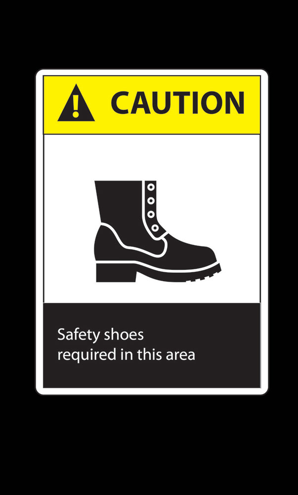 Safety Message Floor Mat - Caution Safety Shoes Required