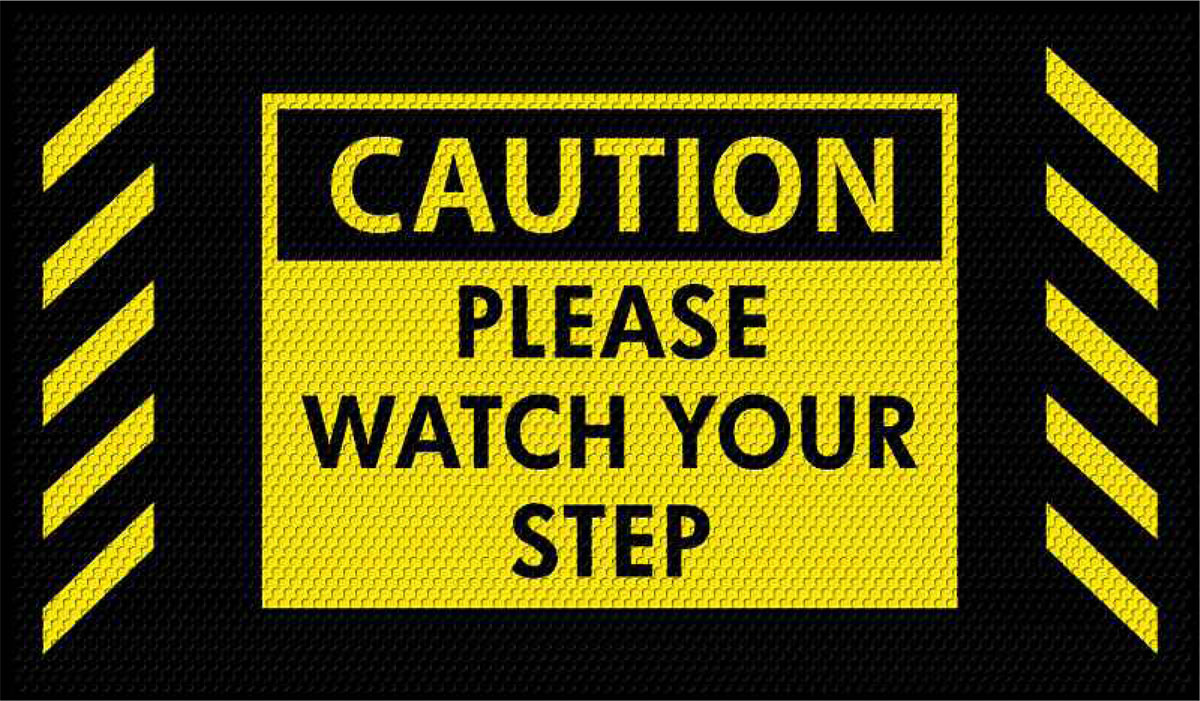3 X 5 Watch Your Step Caution Mat Floormatshop Com