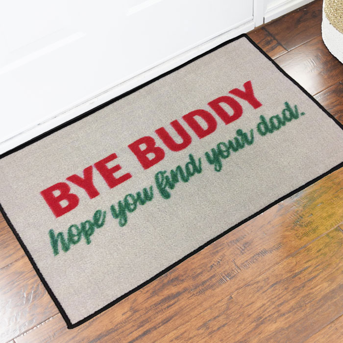 Bye buddy elf movie novelty door mat commercial floor matting carpet products - Novelty welcome mats ...