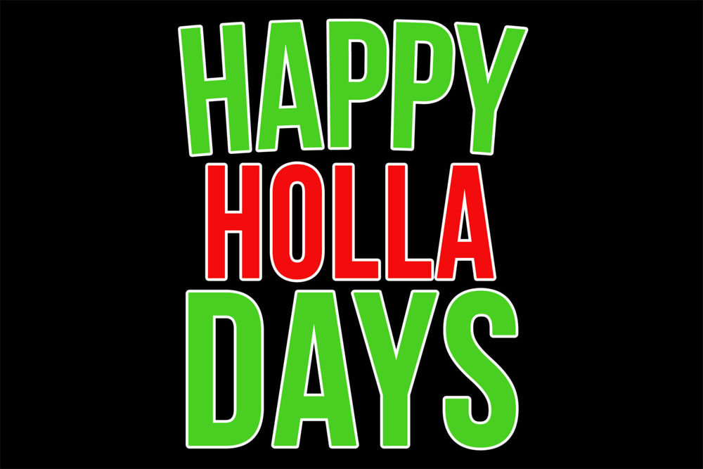 Happy Holla Days Christmas Holiday Door Mat - 2' x 3'