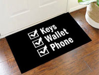 Keys Wallet Phone Reminder Door Mat
