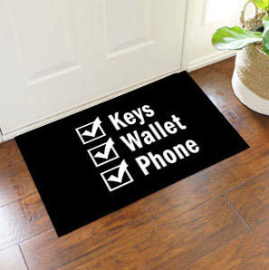 Keys Wallet Phone Reminder Door Mat - 2u0027 x 3u0027 & 2u0027 x 3u0027 Keys Wallet Phone Reminder Doormat - Black - FloorMatShop ...