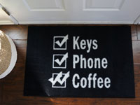 Keys Wallet Coffee Reminder Door Mat