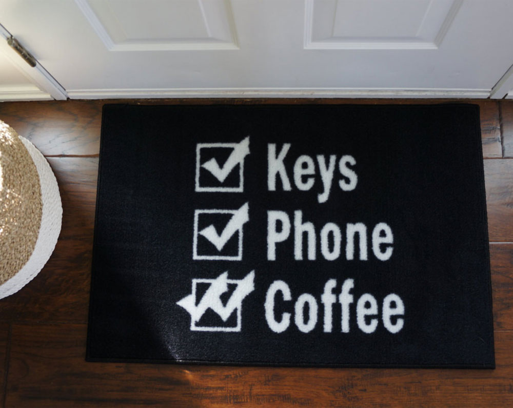 Keys Phone Coffee Reminder Door Mat - 2\u0027 x 3\u0027 & 2\u0027 x 3\u0027 Keys Wallet Coffee Reminder Doormat - Black - FloorMatShop ...