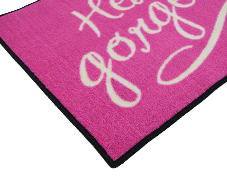 Hello Gorgeous Welcome Door Mat - Pink - 2' x 3'