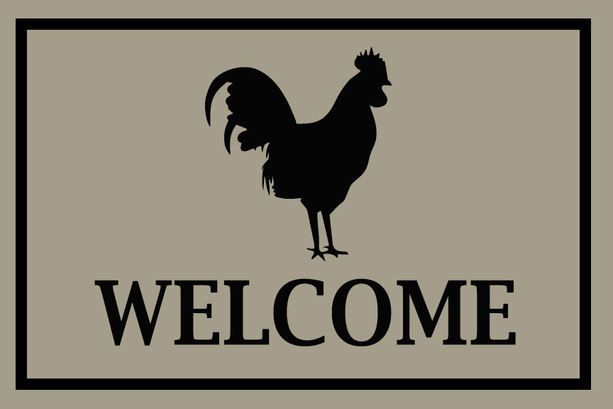Rooster Welcome Door Mat - 2' x 3'