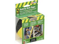"Life-Safe® Anti-Slip Safety Grit Tape - Black w/ Yellow Stripe - 2"" x 15'"