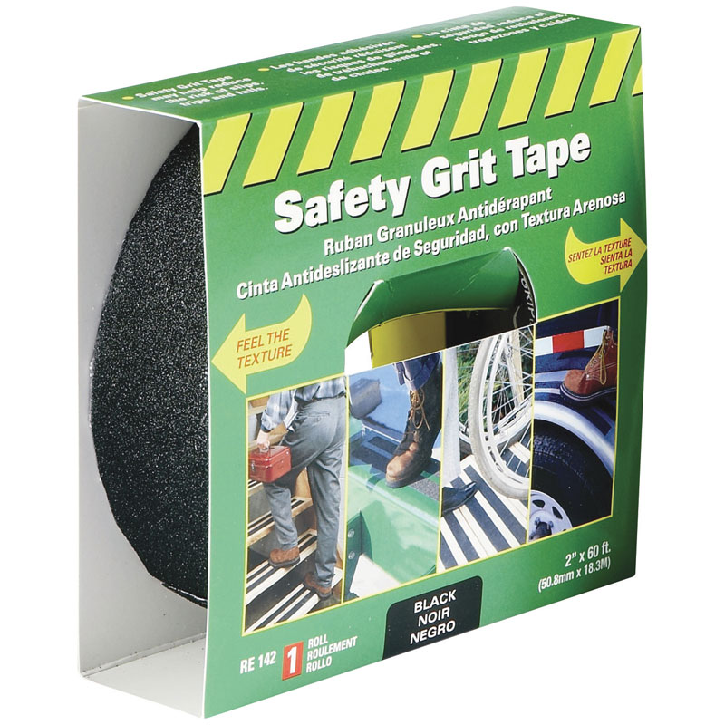 "Life-Safe® [RE142] Anti-Slip Safety Grit Tape - Black - 2"" x 60'"