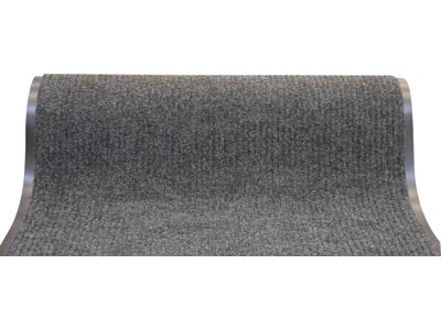 "36"" x 60' Twin Ribbed Vinyl Backed Indoor/Outdoor Floor Runner - Survivor - Dark Grey"