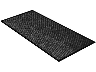 "36"" x 60"" Twin Ribbed Vinyl Backed Indoor/Outdoor Floor Runner - Survivor - Black"