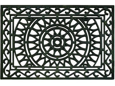 "23"" x 35"" Celtic Scroll Gray Rubber Outdoor Entrance Doormat"