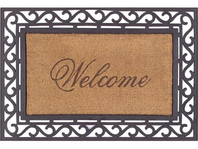 "20"" x 36"" Natural Fiber Welcome Message Rubber Koko Framed Entrance Doormat"