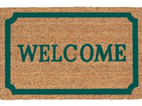 "19.5"" x 29.5"" Green Border Decoir Brush Welcome Entrance Doormat - 635979"