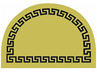 "23.5"" x 35.5"" 1/2 Round Greek Key Design Decoir Brush Entrance Doormat"