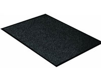 "17"" x 29"" Twin Ribbed Vinyl Backed Indoor/Outdoor Utility Entrance Mat - Survivor - Black"