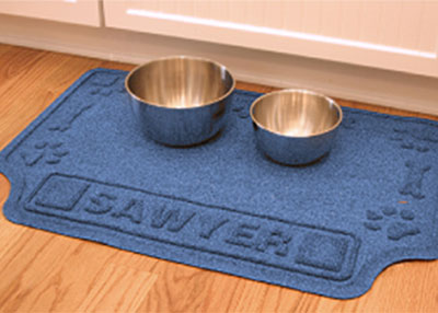 Drool Hog Paw & Bones Dog Bowl Personalized Logo Mat